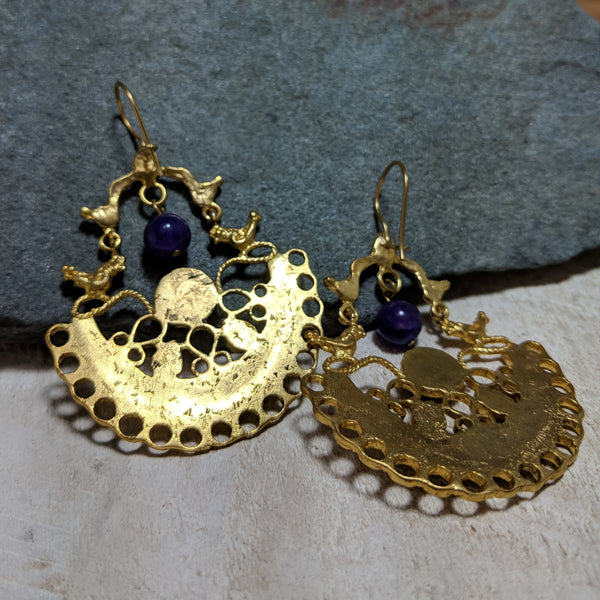 back of purple and yellow birdhouse earrings