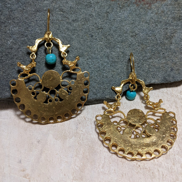back of turquoise and tiger's eye birdhouse earrings
