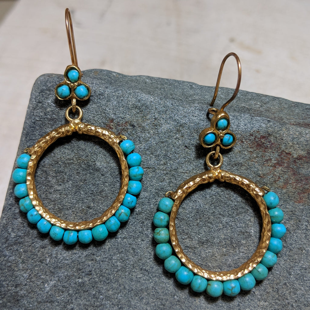 Beaded Turquoise Ring Earrings