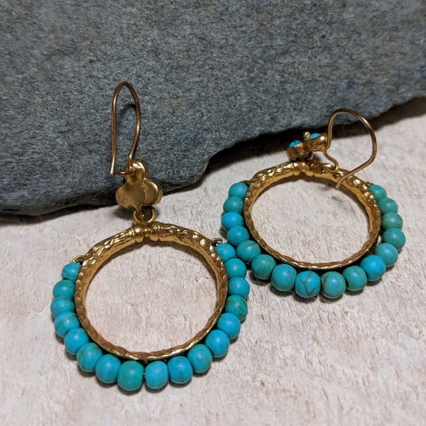 Back of beaded turquoise ring earrings