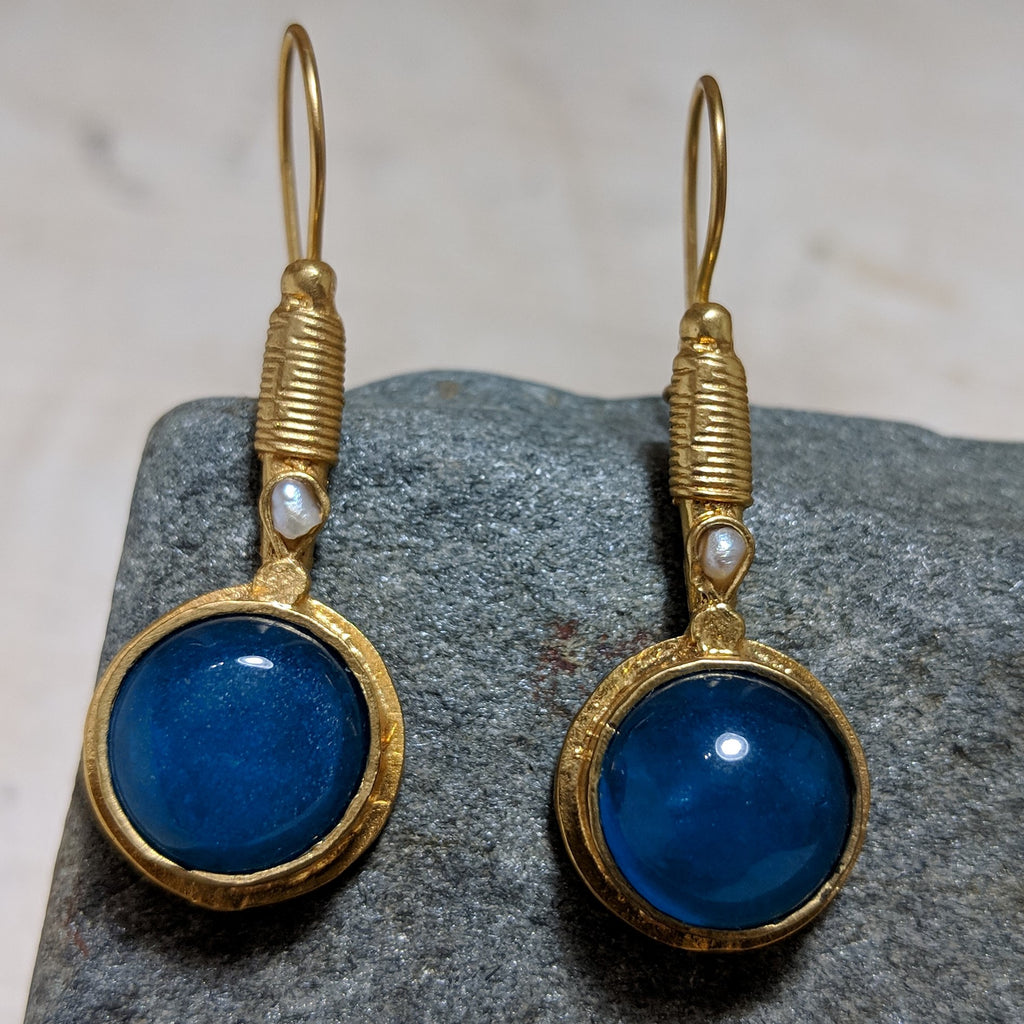 blue pendulum earrings