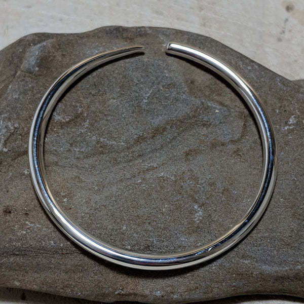 silver tusk bangle side view