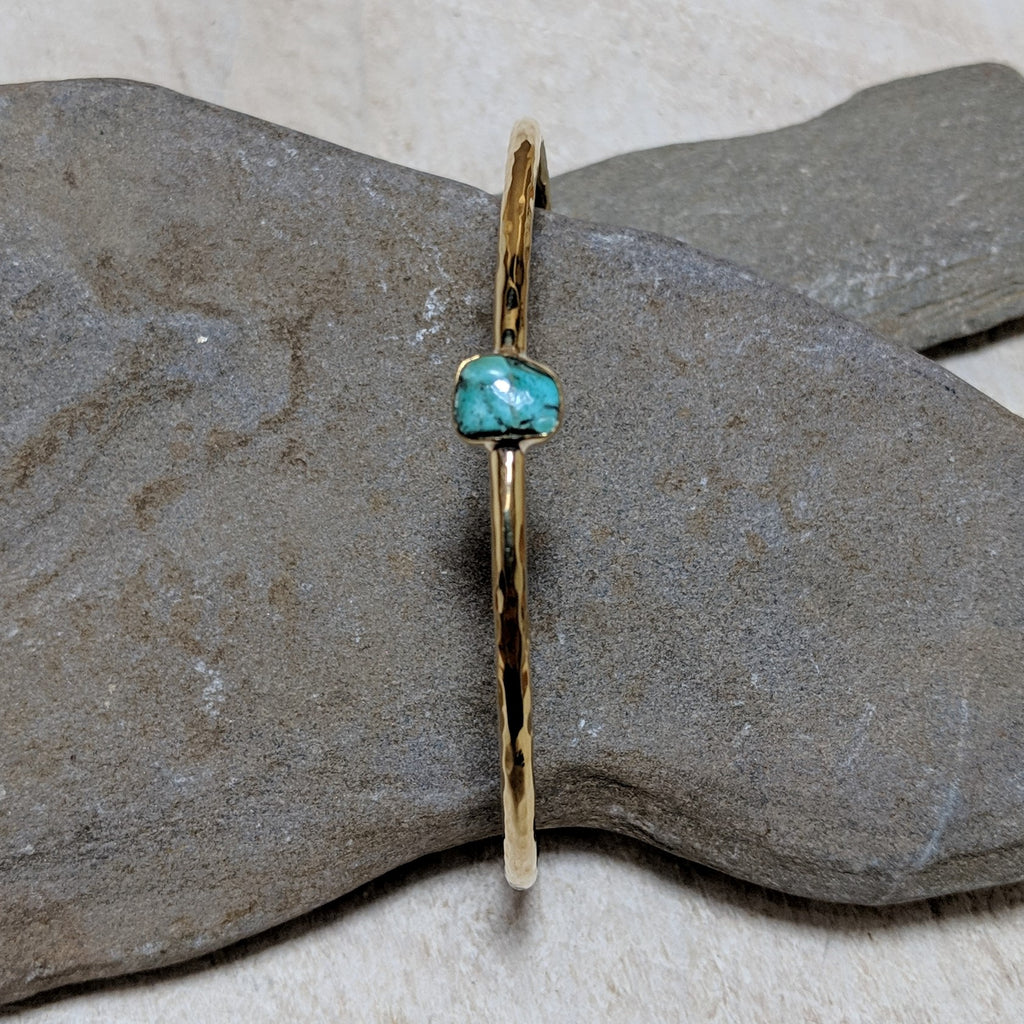 front view of aviva bracelet with turquoise