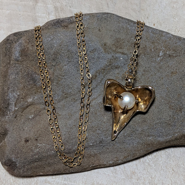 back of shark tooth necklace with chain and pearl