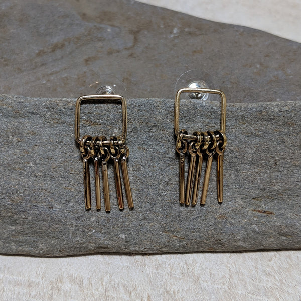 font view of open square five fringe post earrings