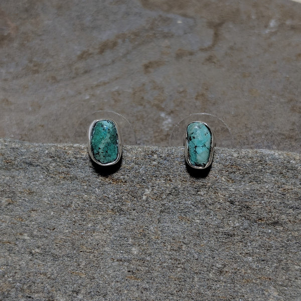 Front of Turquoise Rocha Studs in silver