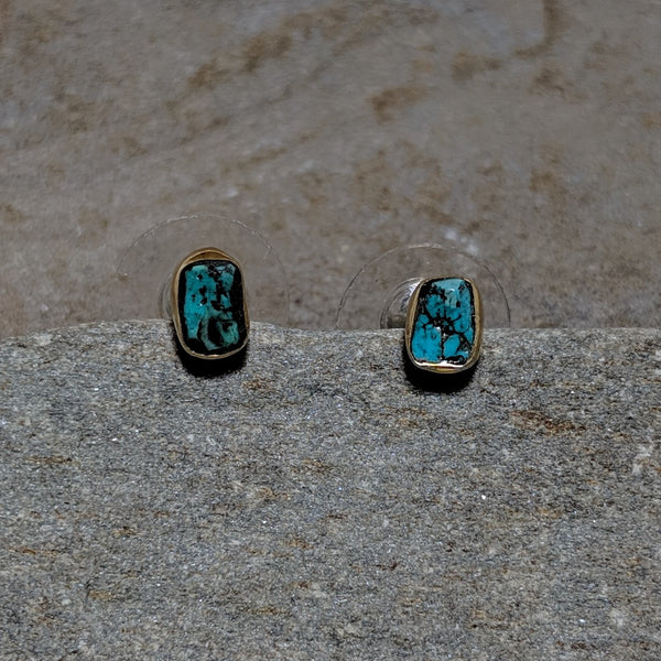 Front of Turquoise Rocha Studs in gold