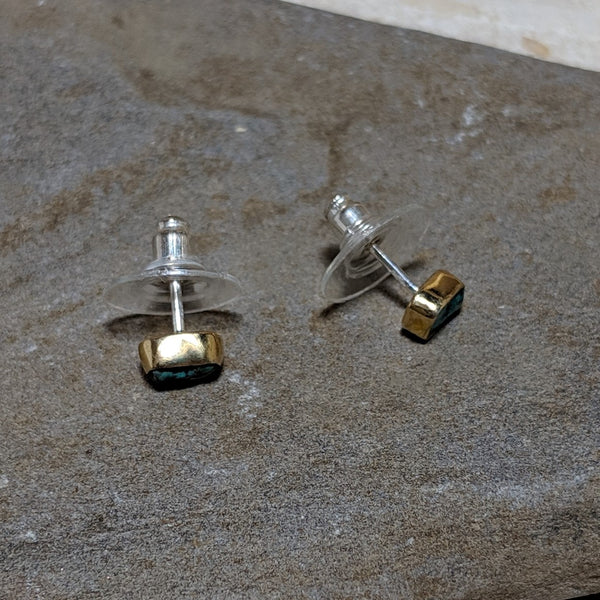 side view of gold and turquoise rocha studs