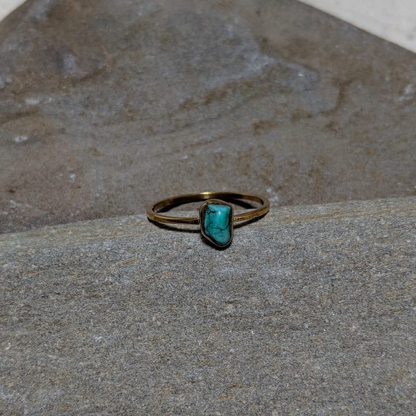 Jackie Stone Stacker ring with turquoise in tumbago