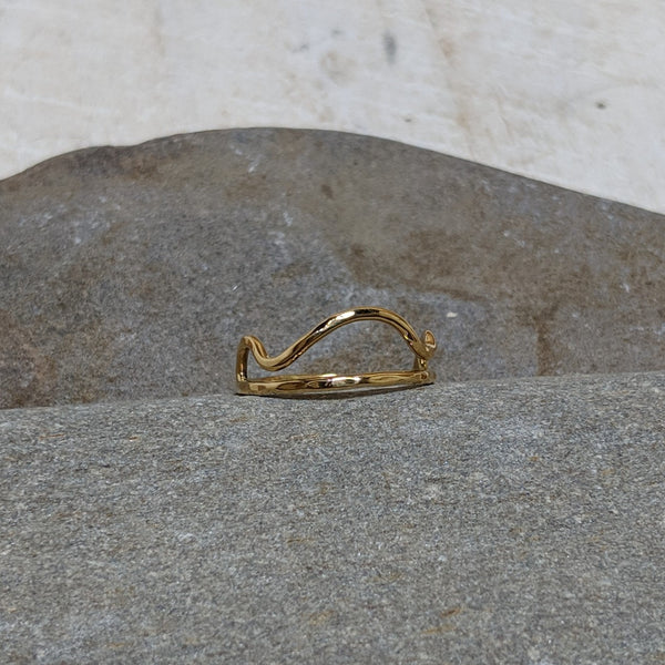 front view of cloud ring in gold colored tumbaga
