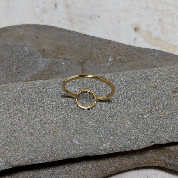 back of gold open circle ring