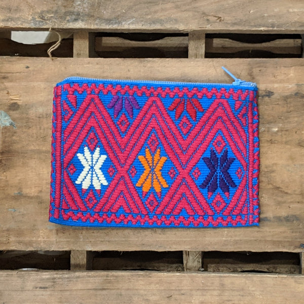 Blue coin purse with mostly red detail