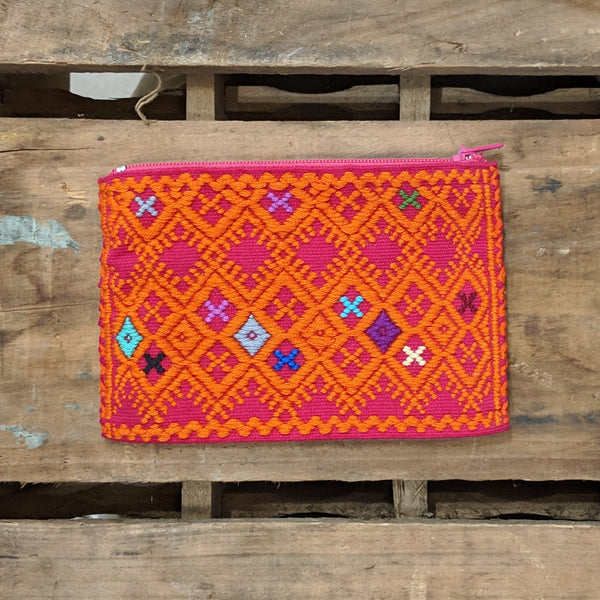 embroidered coin purse pink with mostly orange detail