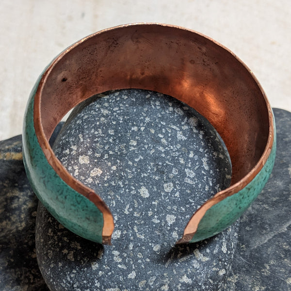 side view of patina cuff