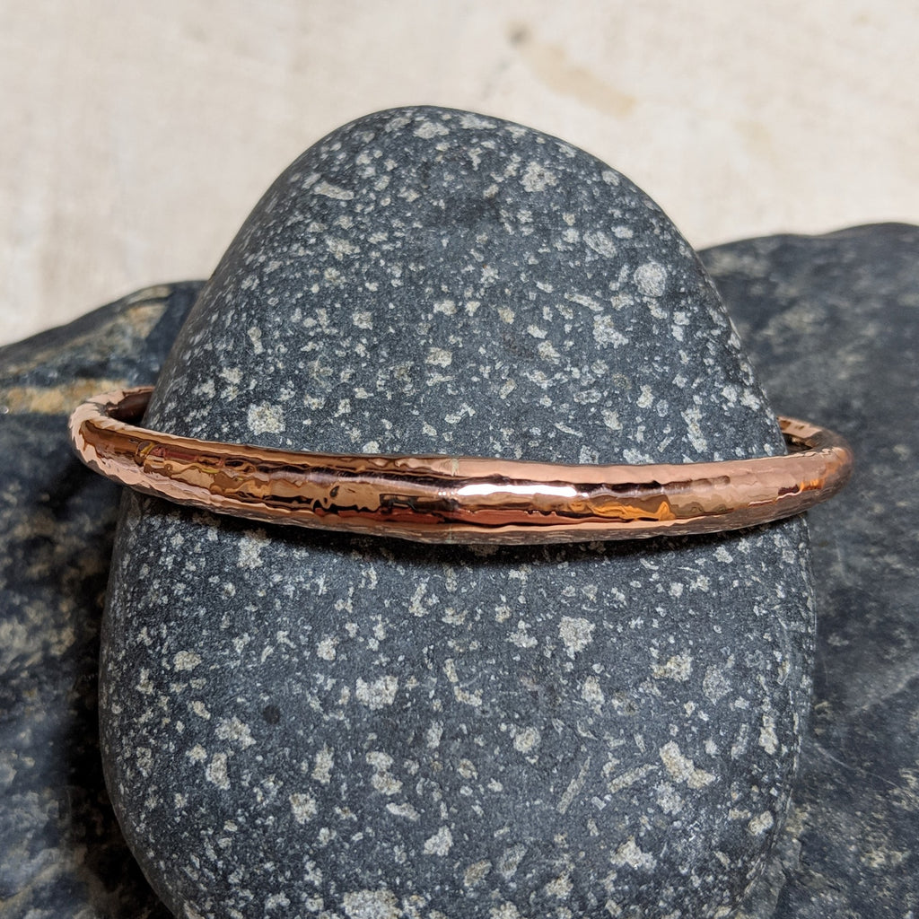 Hammered copper tube cuff