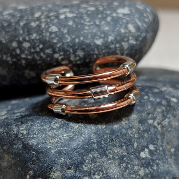 abacus ring - copper wires with silver bead accents