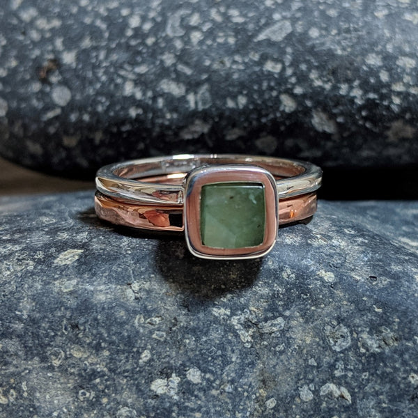 faceted chrysoprase ring stacked with copper band