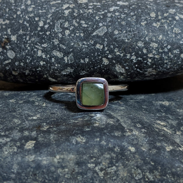 faceted chrysoprase ring