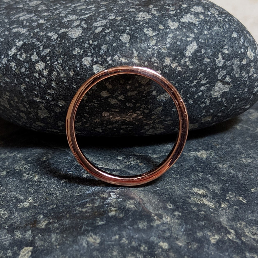 side view of plain copper stacking band ring
