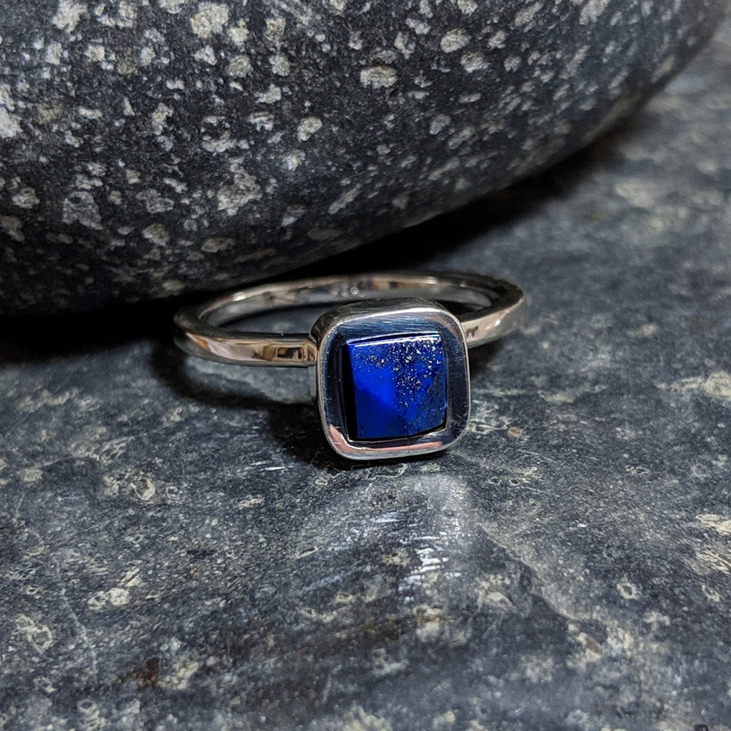 faceted lapis ring