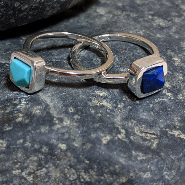 two faceted rings separated