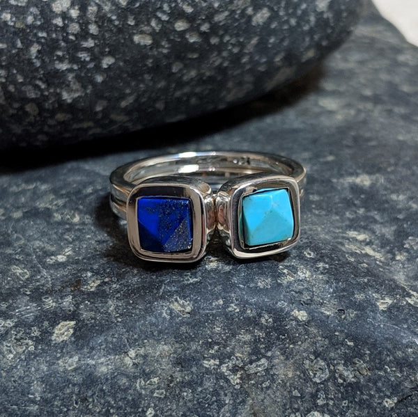 turquoise and lapis faceted rings symmetrical stack