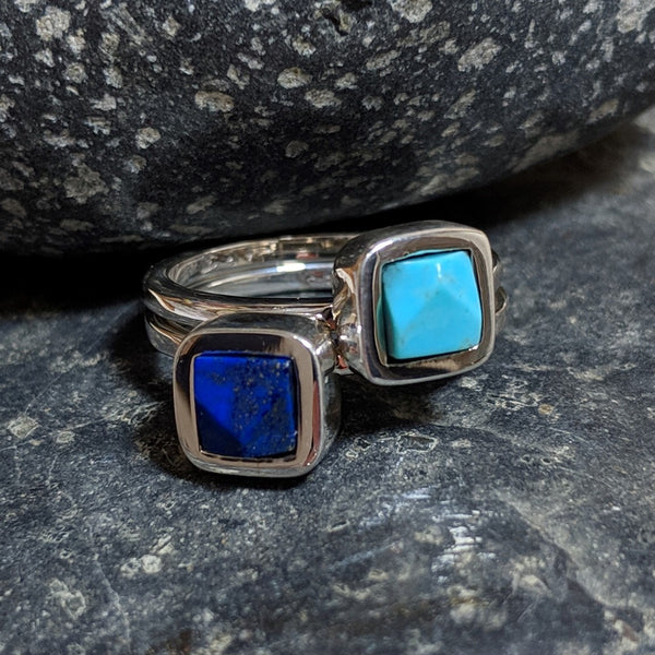 turquoise and lapis faceted rings asymmetrical stack
