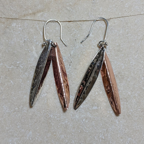 back of long leaves earrings