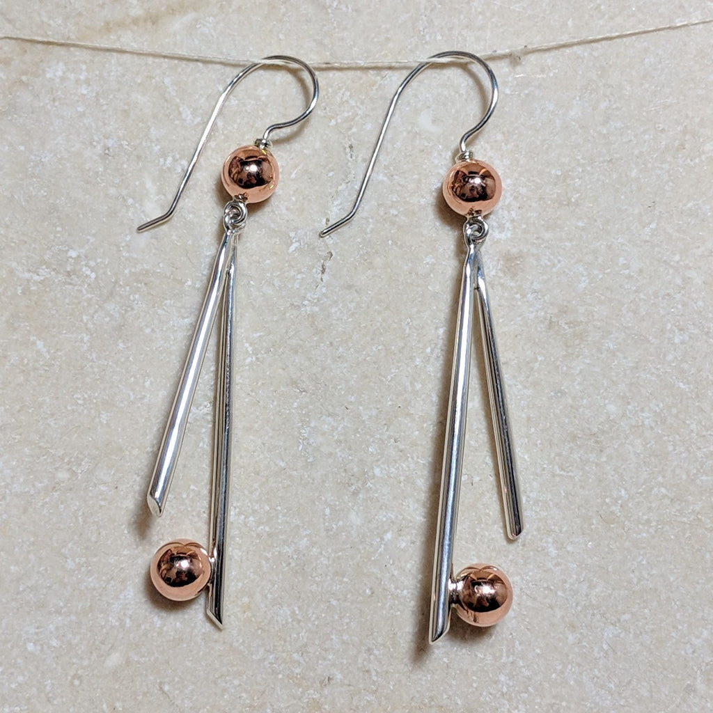 copper sphere accents and silver sticks hook dangle earrings