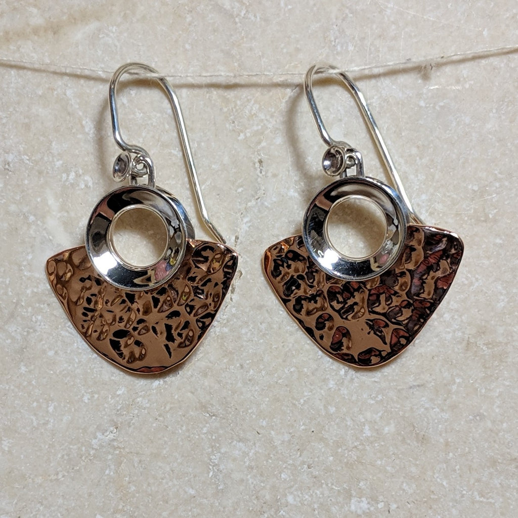 copper spade earrings