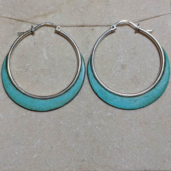 hoops with copper blades with patina