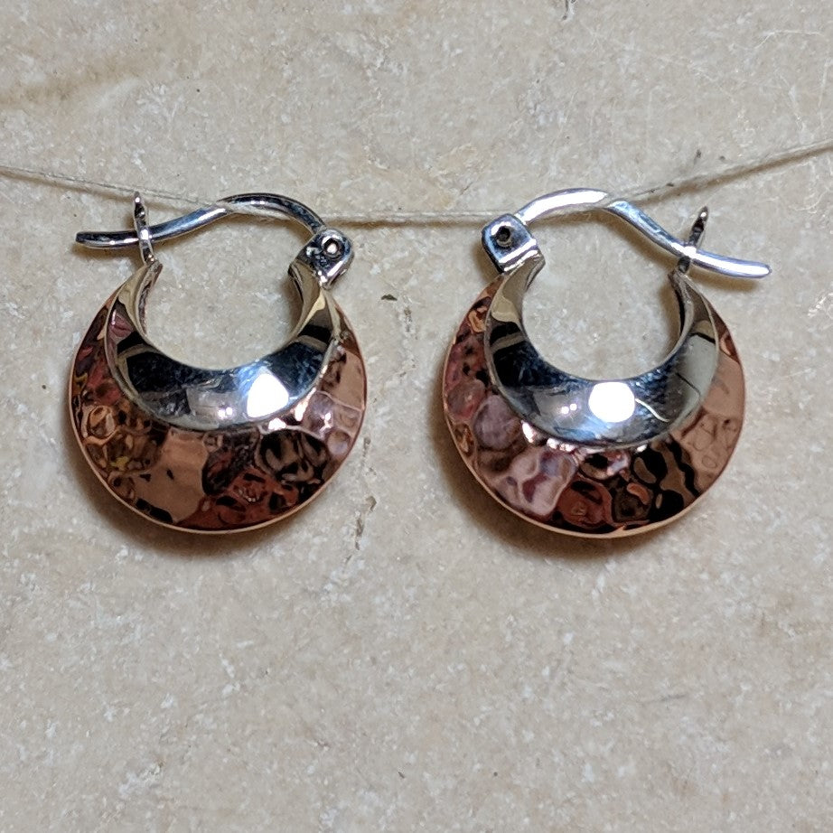 copper bags with silver accents hoop earrings