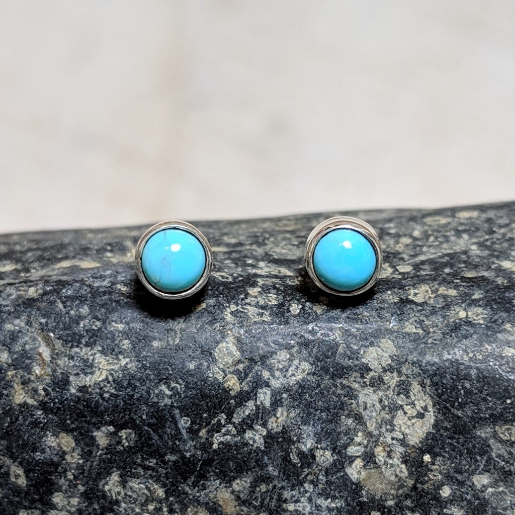 Tiny circle studs in turquoise