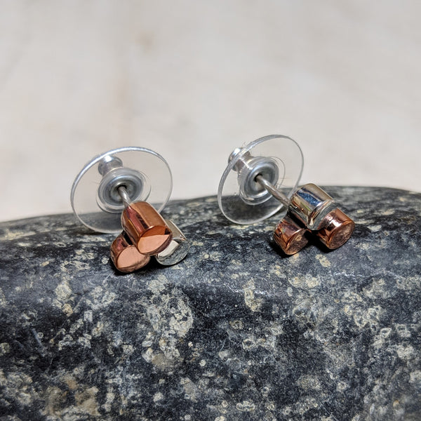 side view of little dots stud earrings