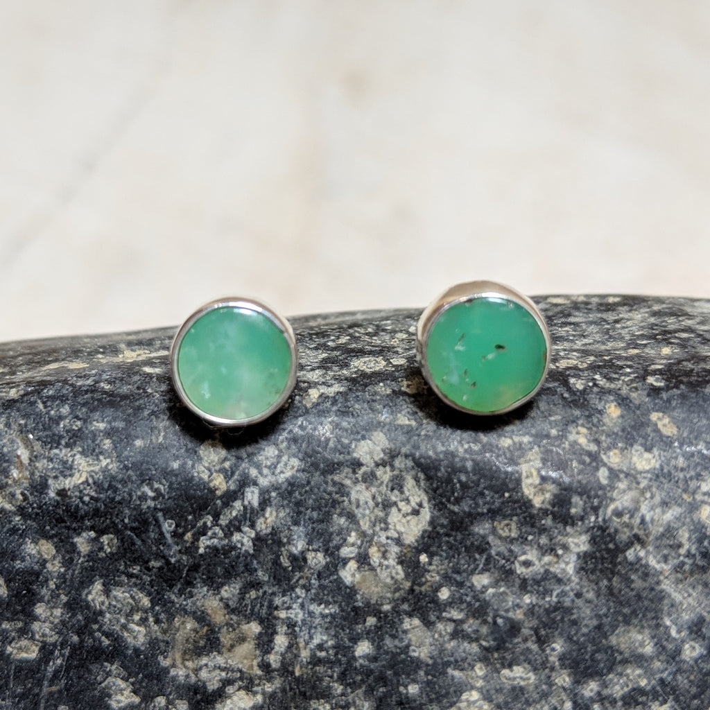circle studs in chrysoprase