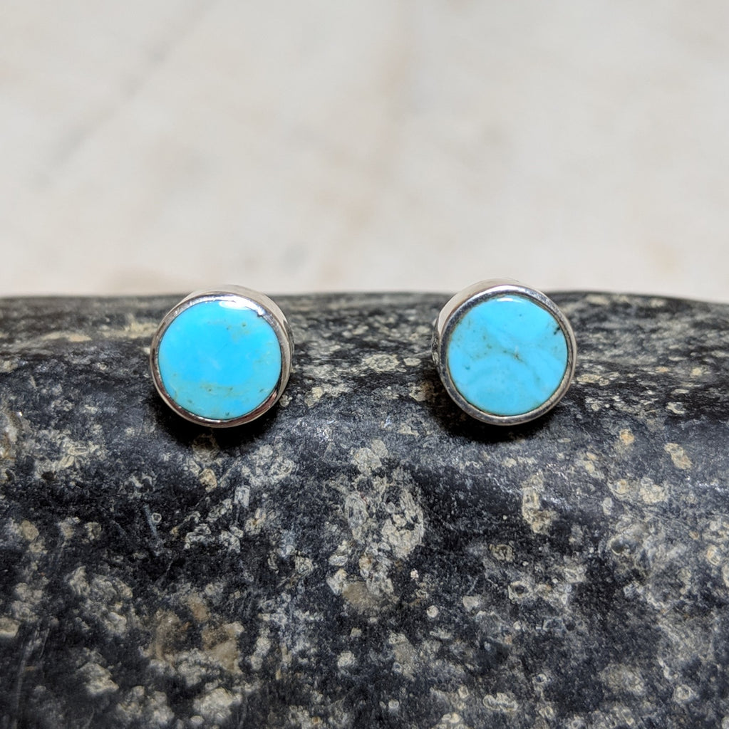 circle studs in turquoise