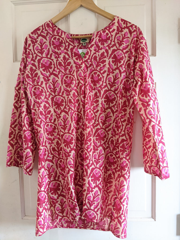 Cotton Tunic Fuschia and Rose Pink