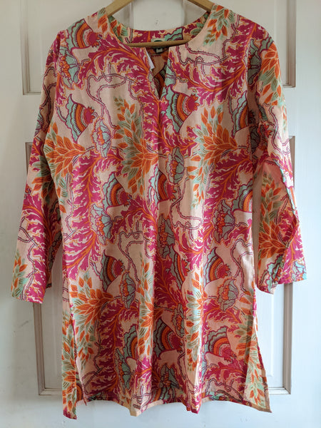 Cotton Tunic Hot Pink, Peach, Orange, and Turquoise