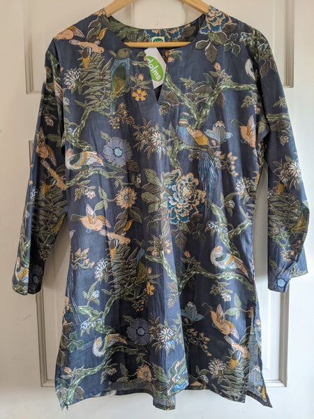 Cotton Tunic, Grey with Floral Bird Pattern