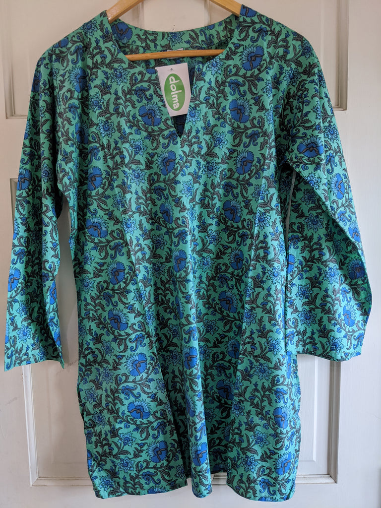 Cotton Tunic Green, Blue, and Olive