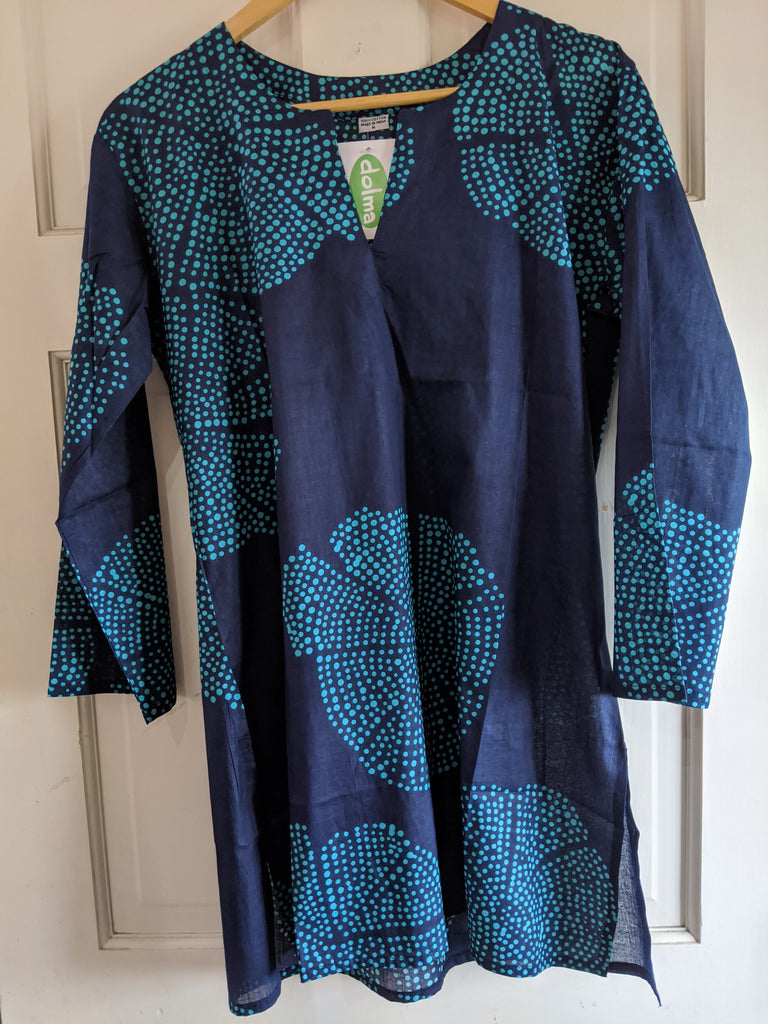 Cotton Tunic Navy Blue and Turquoise