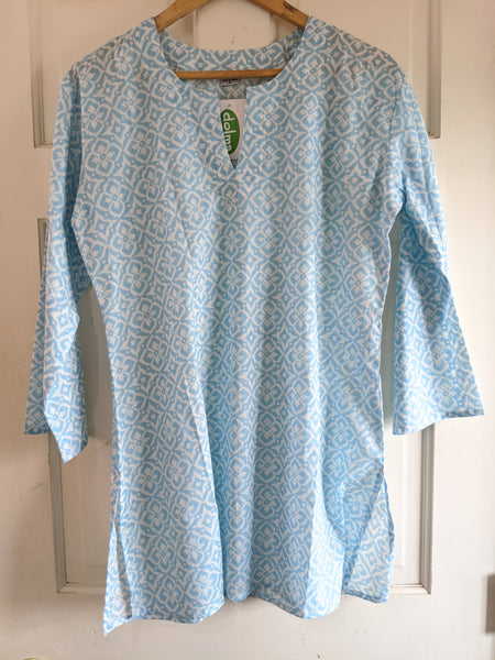Cotton Tunic Light Sky Blue and White