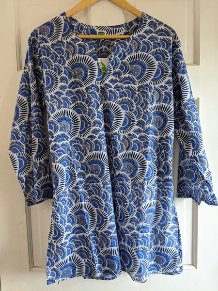 Cotton Tunic Blue and Gold and White