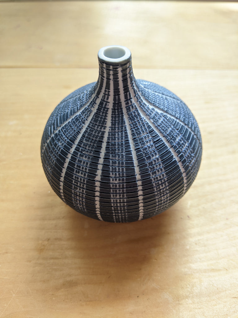 Ceramic Blue and White Urchin Sea Bud Vase