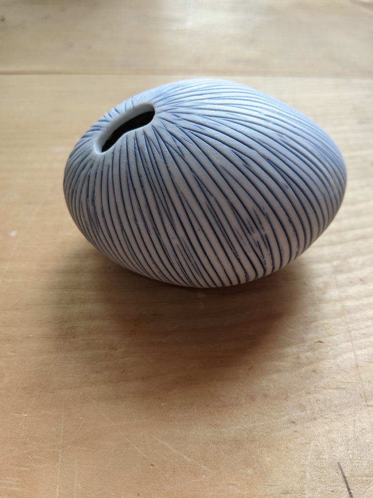 White and Blue mini striped Urchin Sea Vase