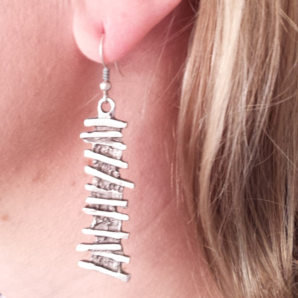 Ladder Earring on model