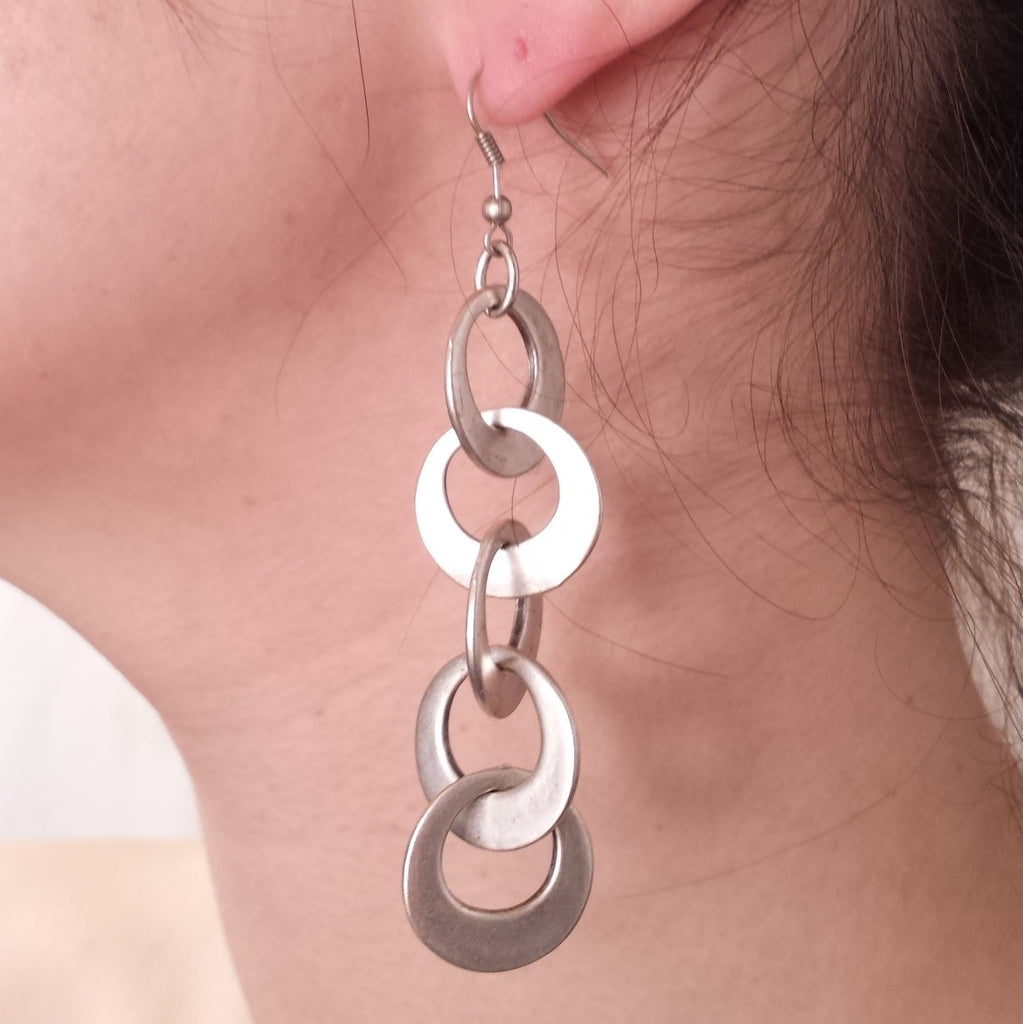 Chain Ring Earrings on model