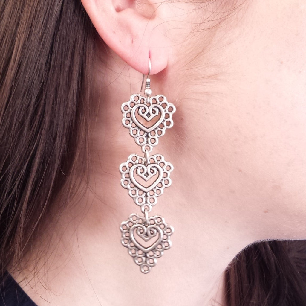 lace earrings on model