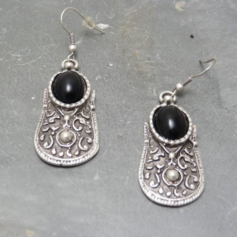 Defense Earrings in Black