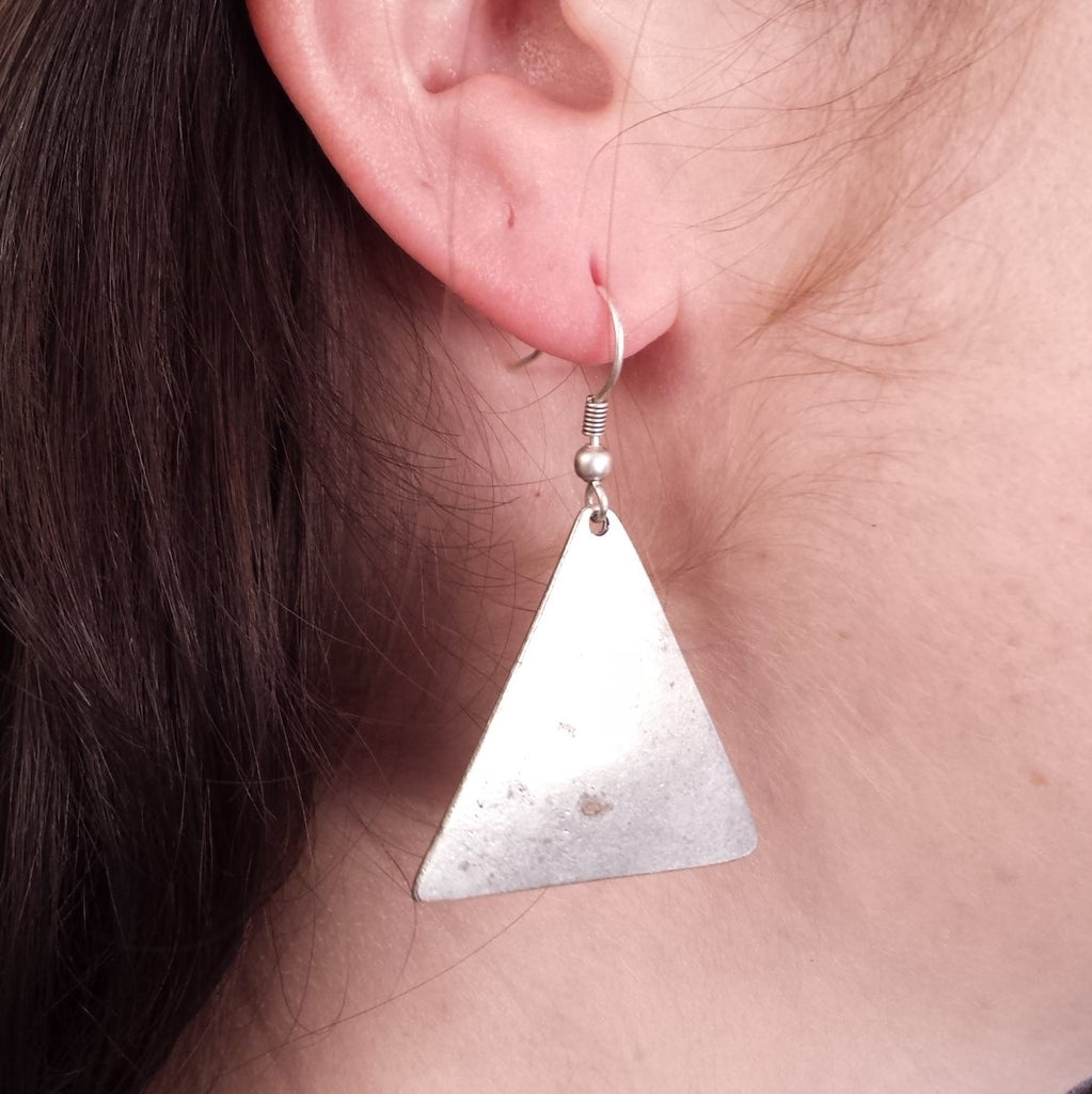 Triangle Earrings on model